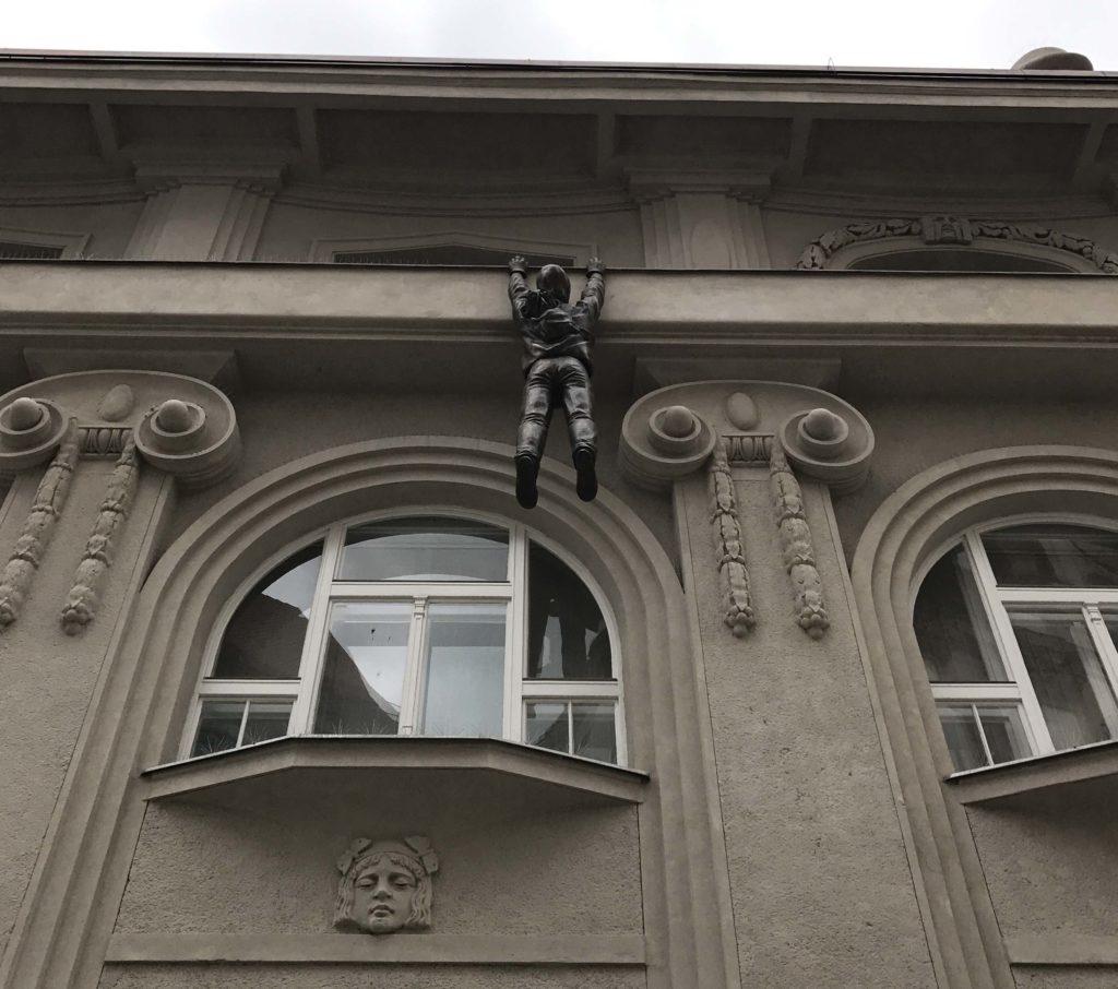 hanging statue in olomouc, czech republic